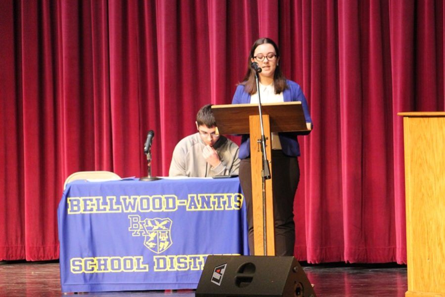 Senior Hannah Hornberger was selected by teachers at Pitt to represent B-A at the annual public forum debate at North Alegany High School.