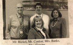 Mrs. Banks, shown with Mr. Bickel, Mr. Conlon, and Mrs. Gonder, was a fixture at the Bellwood-Antis Middle School.
