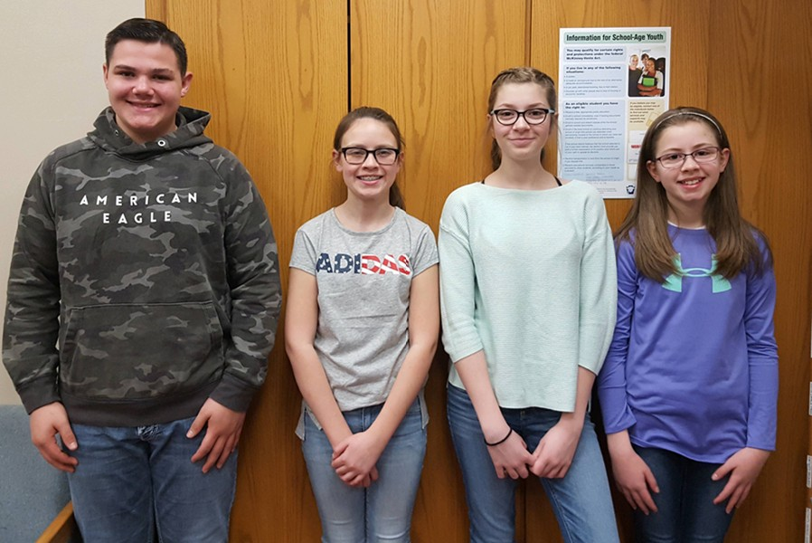 Middle school Students of the Week include, from left to right: Dominic Caracciolo, Mara Bollinger, Carena Eamigh, and Jenn Norton.