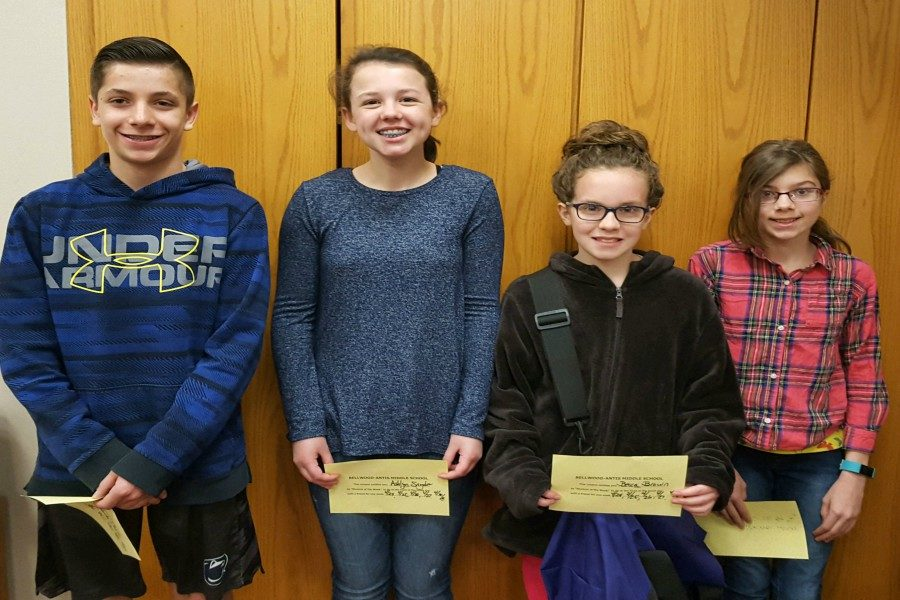 Middle school Students of the Week include, left to right: Xander Shank,  Ashlyn Snyder, Becca Brown, and Kayeleena Lauver.