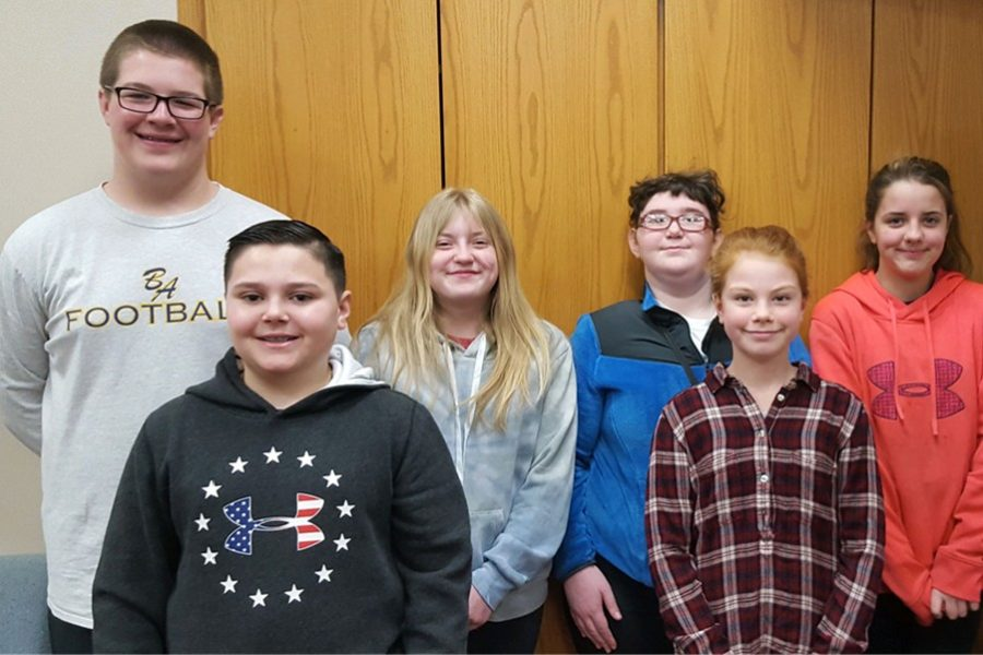 Middle school Students of the Week include, front row from left:  Jacob Caracciolo and Bridget Finochio; Back row from left:  Andrew Nycum,  Emalee Strong, Cynthia Hamel, Ashlee Langenbacher.
