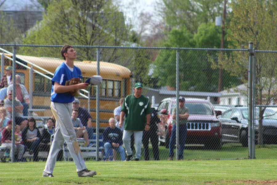 Travis Luensmann clears his mind on a walk around the mound in the sixth inning against Juniata Valley.