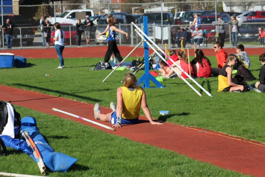 B-A senior Lexi Gerwert takes a moment to clear her mind as she prepares to go for a BA Invitational record in the pole vault. Gerwert got the new meet record with a jump of 11 feet and won her event.