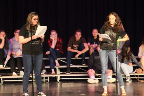 Lauren Young and Lauren Heisler perform at the 14th annual Poetry Slam.
