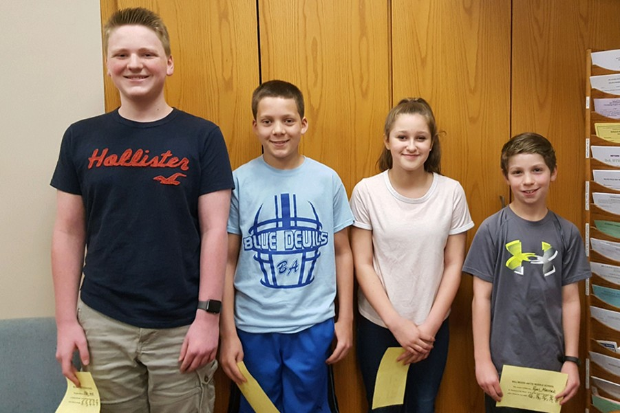 Middle school Students of the week include, from l to r: Ethan Hess, Dylan Andrews, Hannah Anderson, and Ryan Marinak.