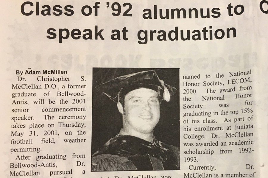 It didn't take long for Dr. Chris McClellan to make his way back to B-A as the 2001 Commencement speaker.