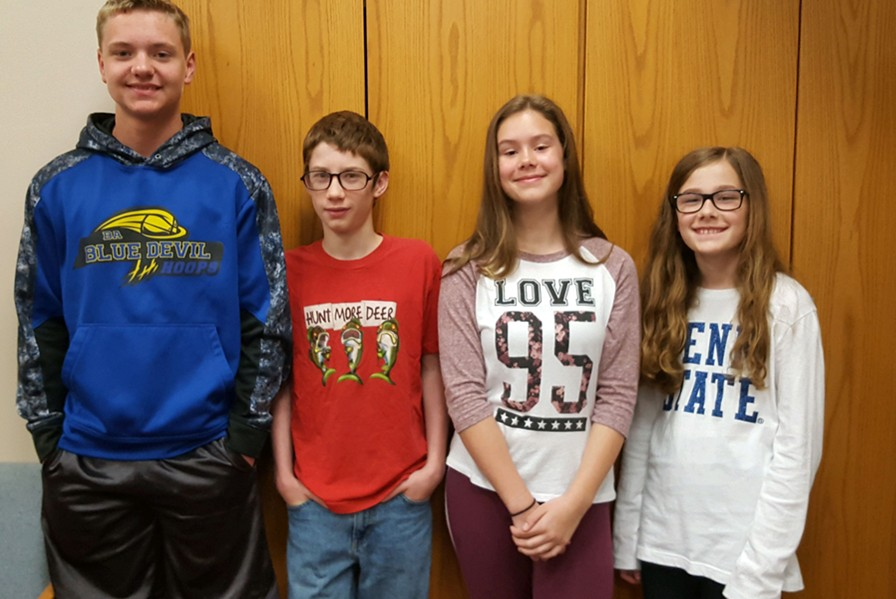 The latest Students of the Week are, from l to r: Dawson Miller, Justin Langenbacher, Olivia Baney, and Briley Campbell.