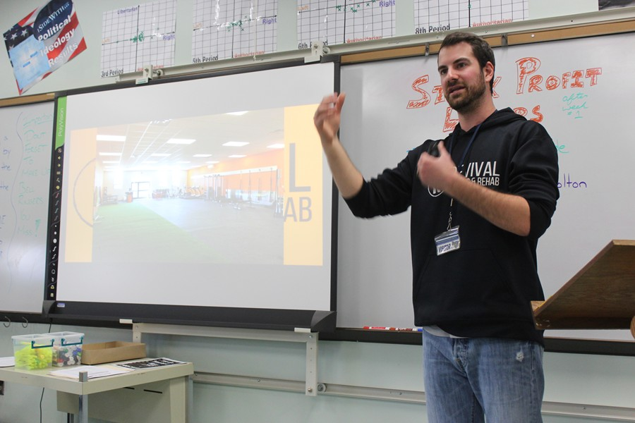 B-A alum Tyler Hunter visited Mr. Elder's POD classes and discuss the importance of developing business models.