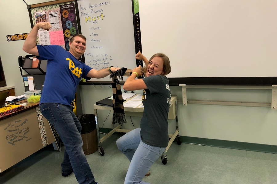 Mr. Elder and Ms. Clippard are as ready as their favorite teams to do battle over the best college rivalry in Pennsylvania.
