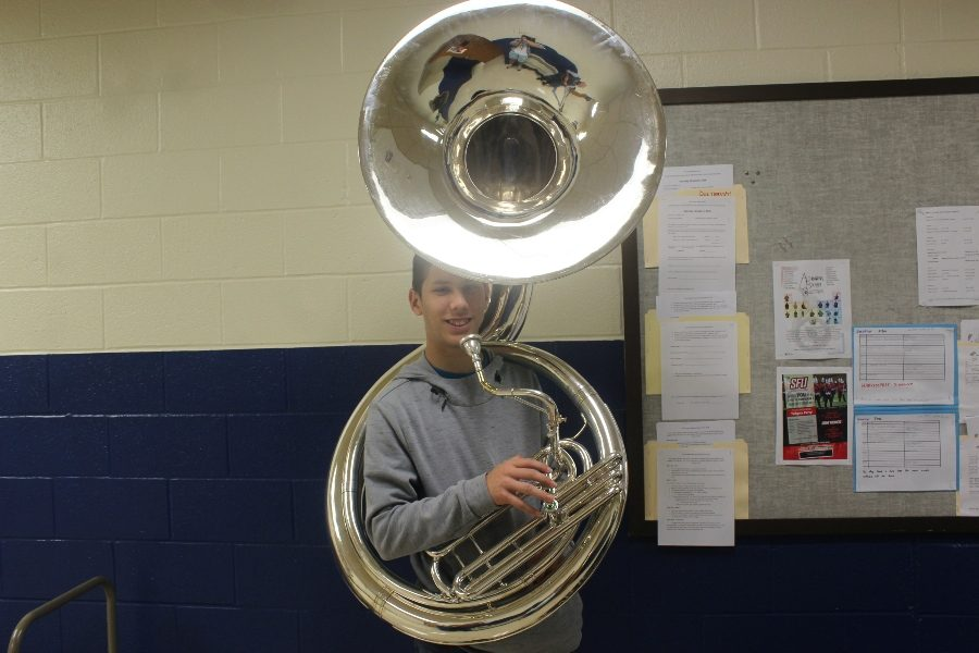 Josiah+Turk+tries+out+his+new+sousaphone.+