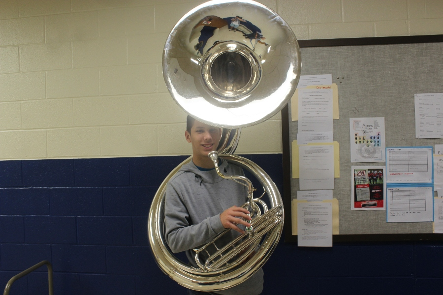Josiah Turk tries out his new sousaphone.