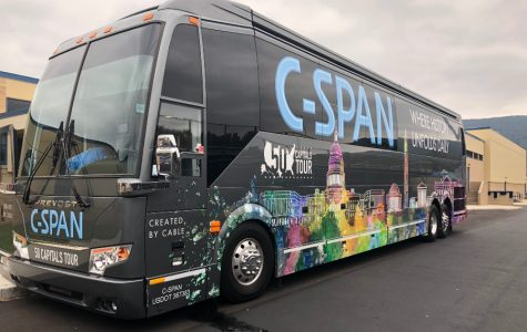C-Span visited Bellwood-Antis last week, bringing its promotional tour bus to heighten awareness of the non-partisan news network.
