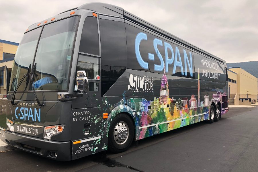 C-Span+visited+Bellwood-Antis+last+week%2C+bringing+its+promotional+tour+bus+to+heighten+awareness+of+the+non-partisan+news+network.