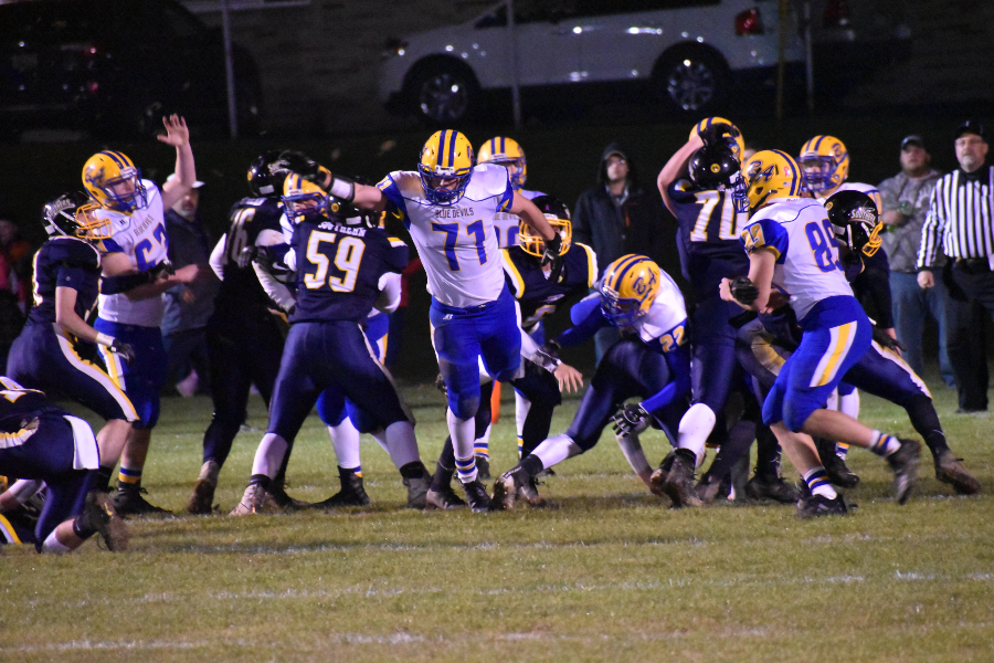 Caden Nagle breaks through the line against Southern.