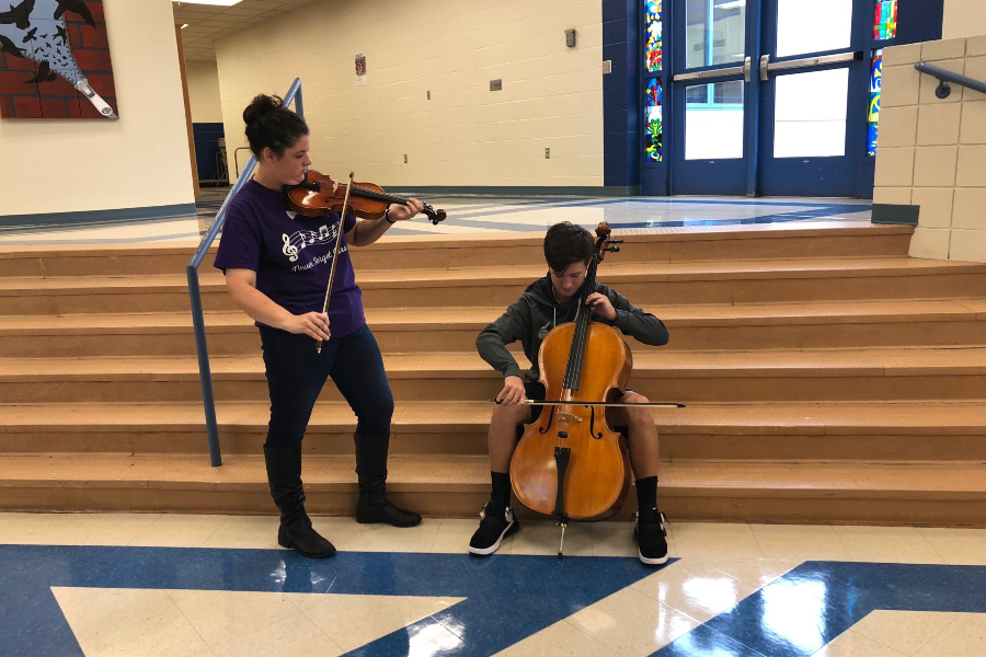 Julie Norris and JJ Estep are the first Bellwood-Antis students to audition for District Orchestra.
