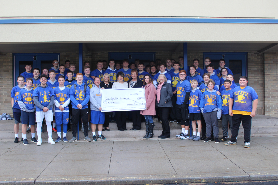 The Bellwood-Antis football team donated $1,000 to Girls Night Out to help fund cancer research in recognition of October as National Breast Cancer Awareness Month.