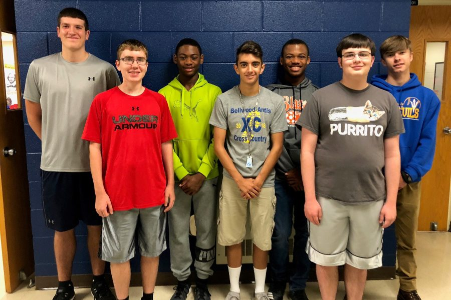 Scholastic scrimmage team members include (r to l): Nathan Wolfe, John sloey, Aiden Taylor, Dan Kustaborder, Alex Taylor, Philip Chamberlin, and Keny Robison.