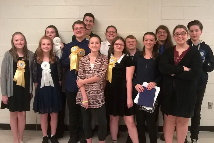 The junior high speech team had seven place-winners at its most recent meet, including first-place winner Emma Corrado.