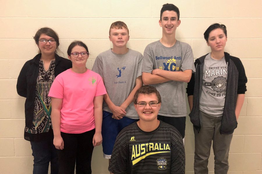 Ninth grade speech team members include: (kneeling) Zachary Amato; second row (l to r): Sarah Berkowitz, Raella Zuiker, Ehtan Brown, Caedon Poe, and Emma Corrado.