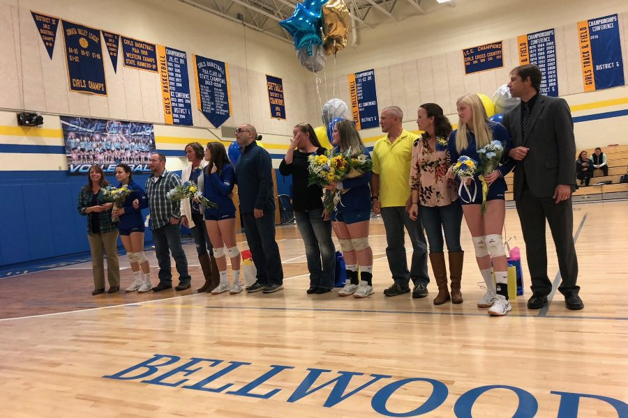 The+volleyball+team+recognized+its+seniors+before+going+five+sets+with+Juniata+Valley+on+Senior+Night.