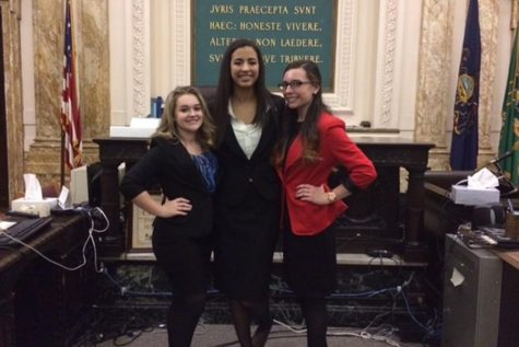Phoebe Potter, Kayla Wooten, and Maria McFarland were attorneys on the Mock Trial team from 2014-2016. Trials take place at the Blair County Courthouse.