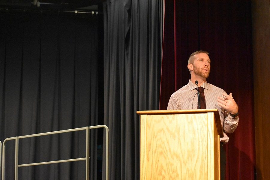 Matthew Gibbons told students at the Veterans Day assembly that the mission in life sometimes changes.