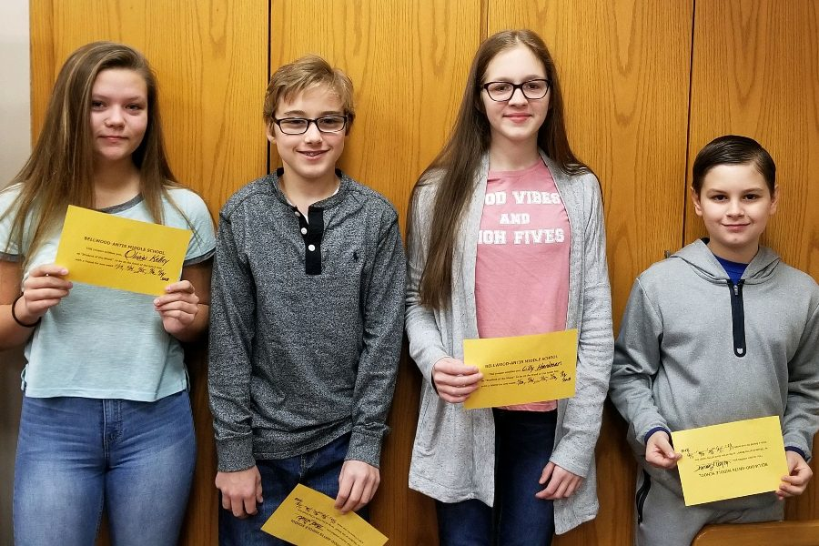 Pictured From left to right are this week's middle school Students of the Week: Olivia Kelley, Thad Dick, Lilly Hardman, and Julien Beaver.