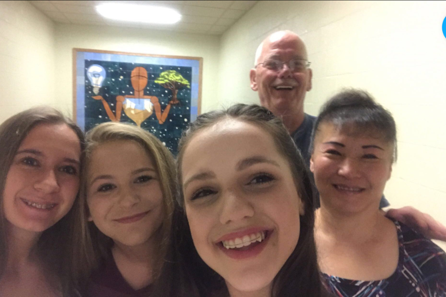 Tom Gority celebrates his Shining Star award with the people he loves: (l to r) Madison Gority, Abby Mussleman, Caroline Nagle,and  his wife Yun.