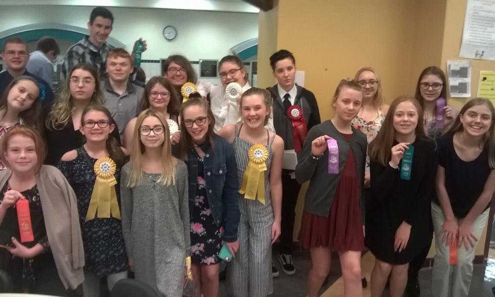 The junior high speech team closed its season last week.