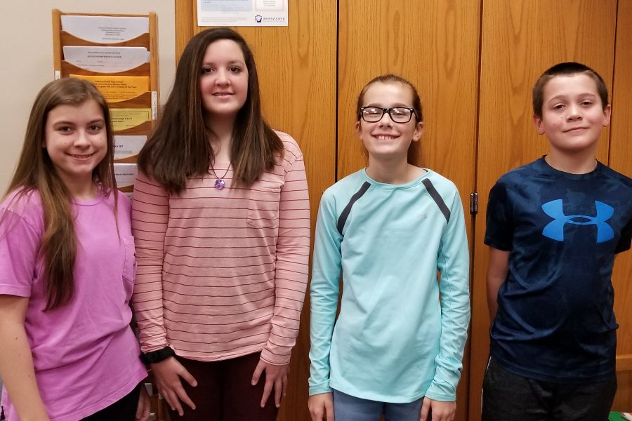 Middle school Students of the Week include: (l to r) Kali Riggleman; Kaitlyn Norris; Briley Campbell; Jayce Quick