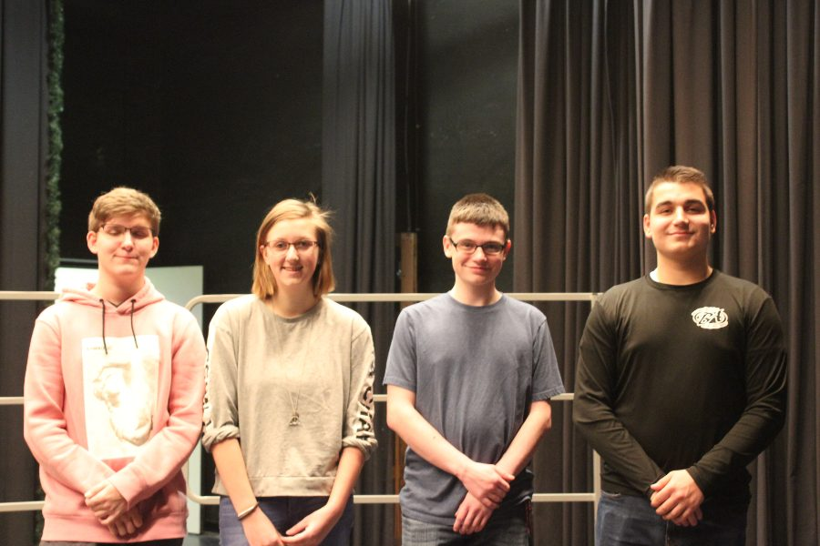 Four B-A students qualified for District 6 band: (l to r) Andy Miller, Leah Farber, Alex Foose, and Dominic Tornatore.