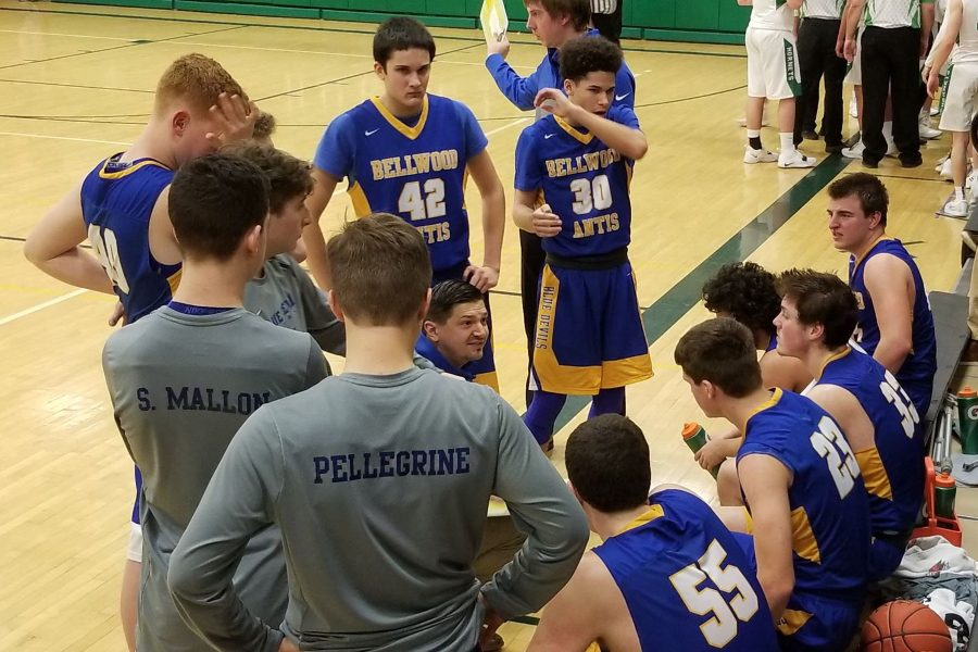 Coach Conlon instructs his team during the second half its game at Juniata Valley.