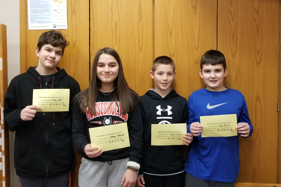 This week's middle school Students of the week are: (L to r) Avery Luther, Miranda Tornatore, Holden Schreier and Kyler Boore.