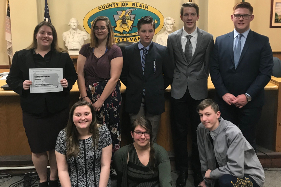 Mock Trial team members include, front row (l to r): Lauren Young, Sarah Berkowitz, and Joey Rettig; back row (l to r): Brandie Ray, Kayleigh Fitzgerald, Emma Corrado, Brendan Andrews, and Jackson Boyer.