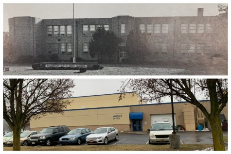 Bellwood-Antis High School as seen in 1989 and 2019.