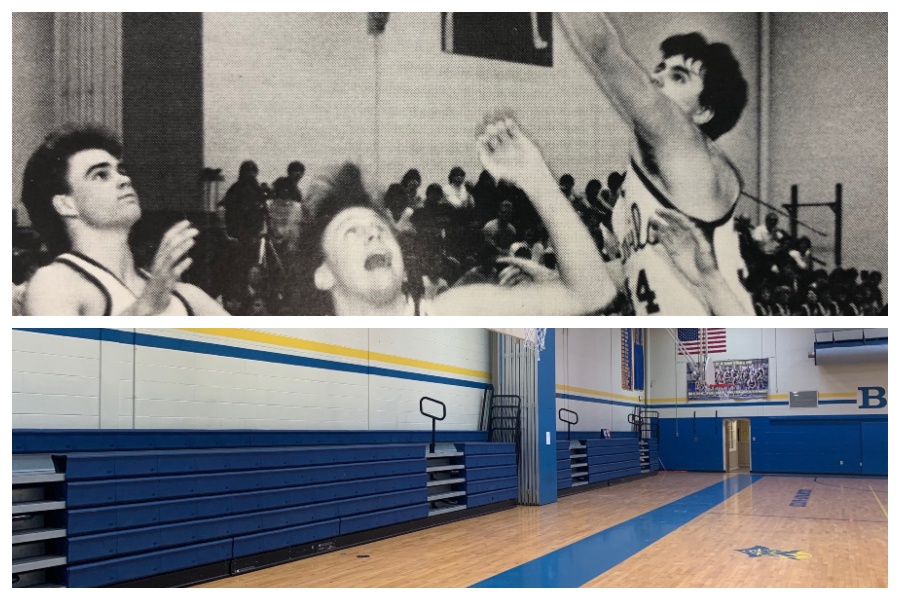 Above, Rusty Geis lets loose with a jumper in what is now the middle school gymnasium  1986; below is the modern-day middle school gym.