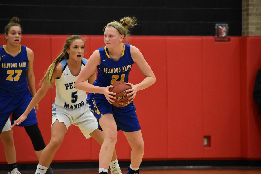 Alli Campbell posts up strong against Penns Manor.