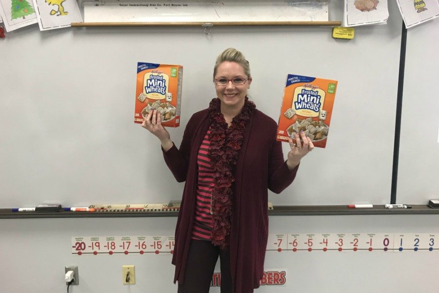 Mrs. Riddle is currently in second place in this years FCA cereal drive.