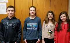 Middle school Students of the Week include: (l to r) Caleb Beiswenger, Hannah McClellan, Kayeleena Lauver, and Brylee Hewitt.