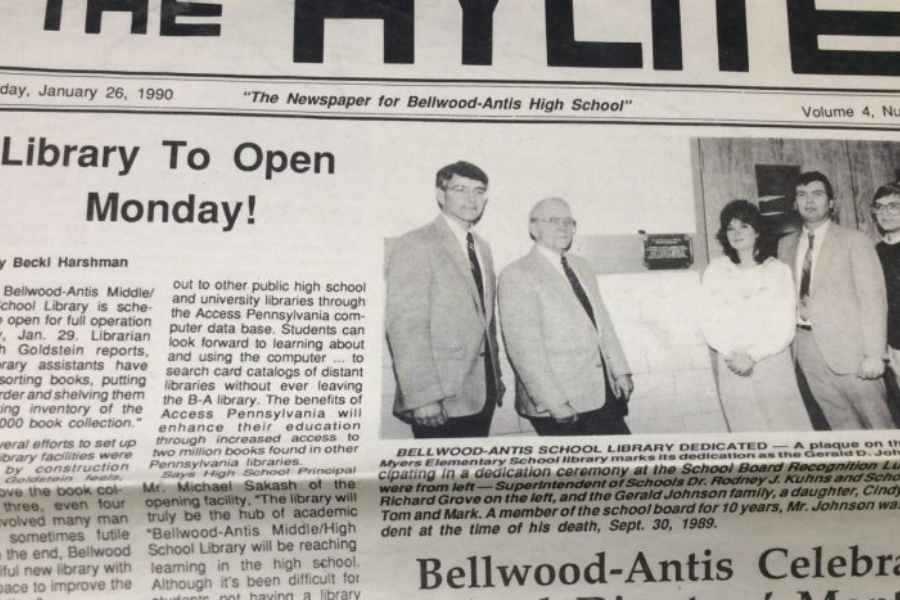 Bellwood-Antis opened a revamped high school library in 1990.