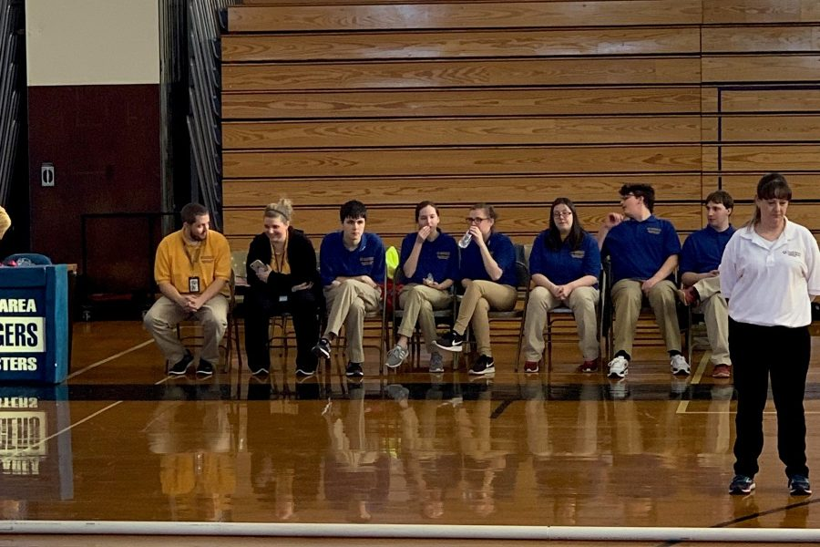 The B-A bocce team, with coaches Mr. Stewart and Mrs. Seese, wait their turn at the county championships.
