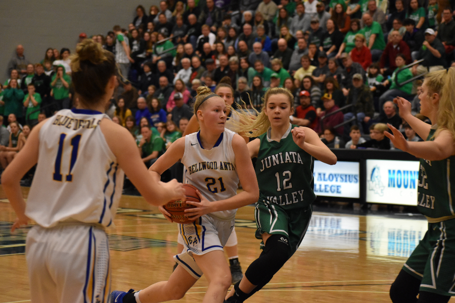 Alli Campbell drives to the hole for two of her 22 points against Juniata Valley.