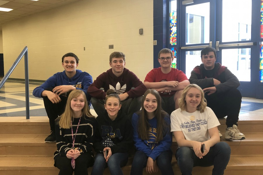 Scholastic scrimmage team members include: (front row, l to r) Olivia Hess, Chloe Brown, Ava Miller and Avery Turek; (back row) Jack Luensmann, Gaven Ridgway, Zac Amato,and Canyon Nyman. Missing for the photo were Caden Poe and Emma Corrado.