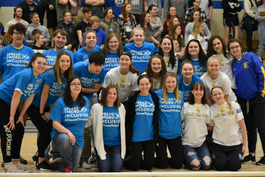ThSpread the Word rally; March 19, 2019. (Maria Cuevas)e unified bocce team took down the girls basketball team in a game of bocce at the Spread the Word rally.