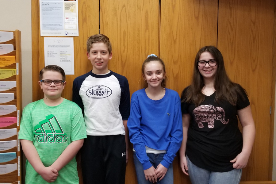 The latest middle school Students of the Week are: (l to r) Cooper Lovrich, Matthew Berkowitz, Ava Kensinger, and Jocelyn McGuire.