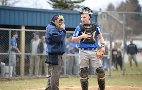 Trentin Whaley talks with the unnpire in between innings against Tyrone.