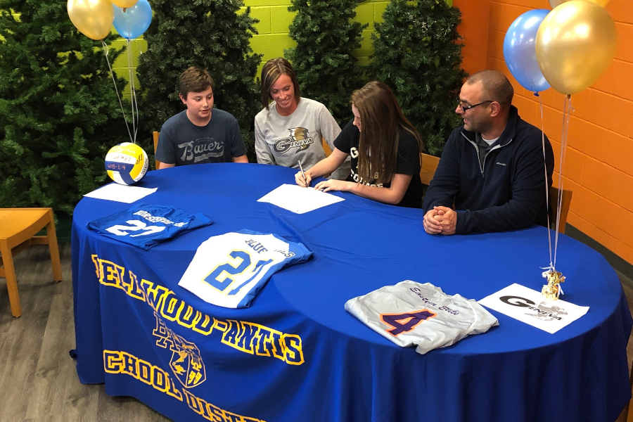Hope Shook confirmed her intentions to play volleyball for Geneva yesterday.