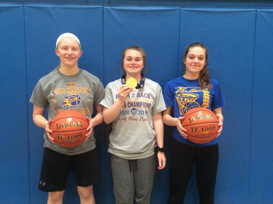 Chelsea McCaulsky, Alyson Partner & Caylie Conlon were managers for the Lady Blue Devil basketball state championship team.
