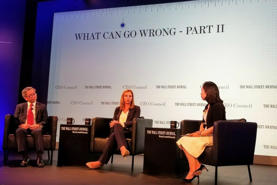 In the middle is Cheryl Davis at a Wall Street Journal CEO Council meeting in Tokyo.