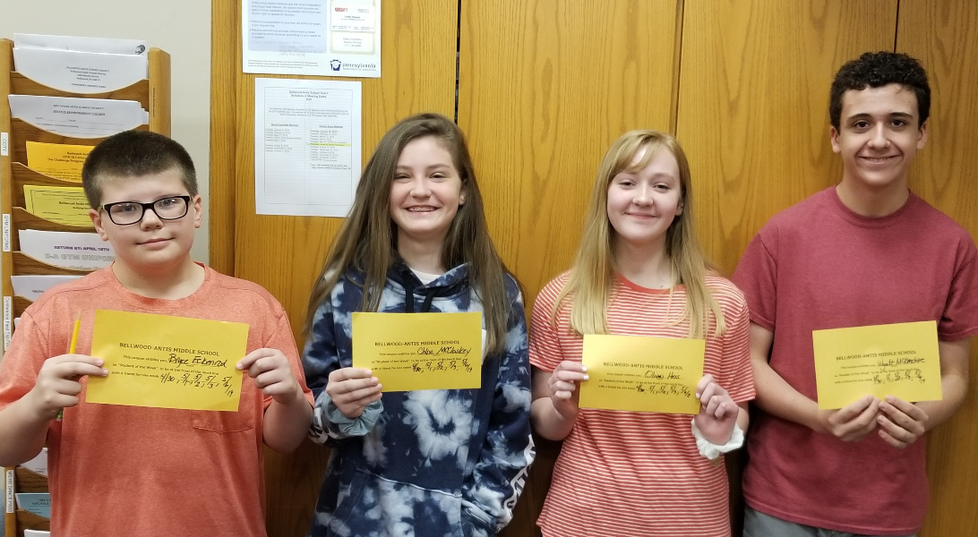 Middle school students of the week include (l to r): Bryce Eckenrod, Chloe McCloske,  Olivia Hess, and Wyatt McKendree.